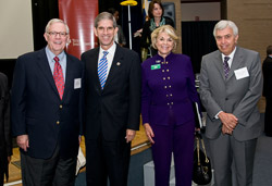From left, Tom Luce, CEO, National Math and Science Initiative; James Spaniolo, president of the University of Texas at Arlington; President Gretchen M. Bataille; Myron Salamon, dean of the School of Natural Sciences and Mathematics, University of Texas at Dallas.