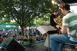 The Four O'Clock Lab Band, directed by master's student Dan Foster, entertains the crowd. (Photo by Jonathan Reynolds)