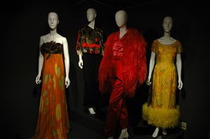 """Flights of Fancy,"" the exhibition that opened UNT's Fashion on Main in 2006, featured feathered ensembles from the Texas Fashion Collection."