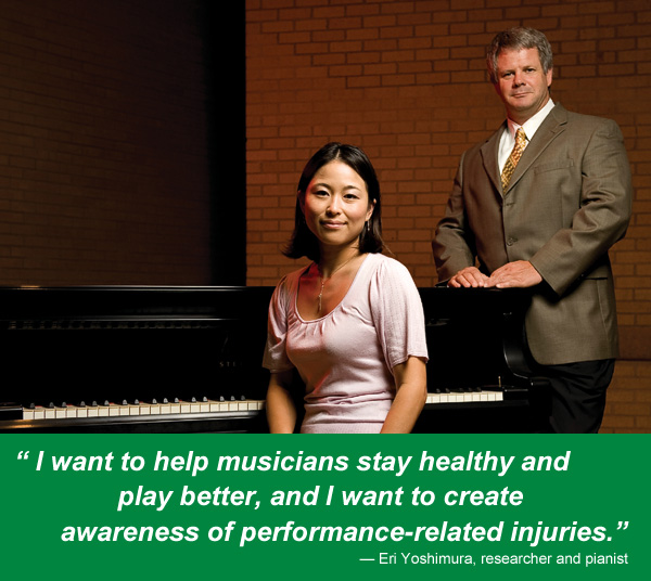 Eri Yoshimura, as a doctoral student, with mentor Kris Chesky, associate professor and director of UNT's Texas Center for Music and Medicine. (Photo by Jonathan Reynolds)