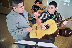 The annual mariachi camp in July gives participants a taste of university life as well as instruction in singing and playing traditional mariachi music. (Photo by Michael Clements)