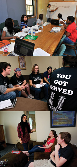 Students in the health professions, UNT SERVES! and global learning REAL communities meet to study for exams, plan volunteer projects and foster cultural exchange and international awareness. (Top and bottom photos by Michael Clements, middle photo by Gary Payne)