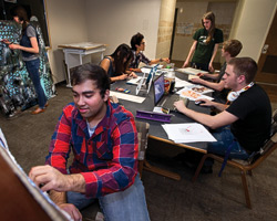 Students in UNT's REAL communities share interests or majors and spend time living, learning, studying and socializing together in residence halls. Students can choose from 15 living-learning communities, such as the art and design community. (Photo by Gary Payne)