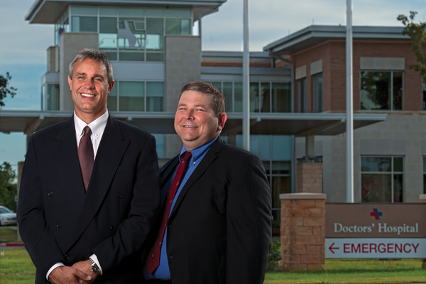Physicians Steven Longacre ('92) and Shawn White ('90) helped open North Texas Community Hospital in Bridgeport in 2008. The nonprofit hospital serves the medical and surgical needs of Wise County. (Photo by Gary Payne)