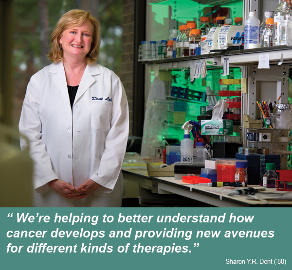 Sharon Y.R. Dent ('80), professor and chair of the Department of Molecular Carcinogenesis, works in her lab at M.D. Anderson Cancer Center Science Park in Smithville. (Photo by Gary Payne)