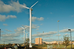 UNT's new wind turbines at Apogee Stadium. (Photo by Jonathan Reynolds)