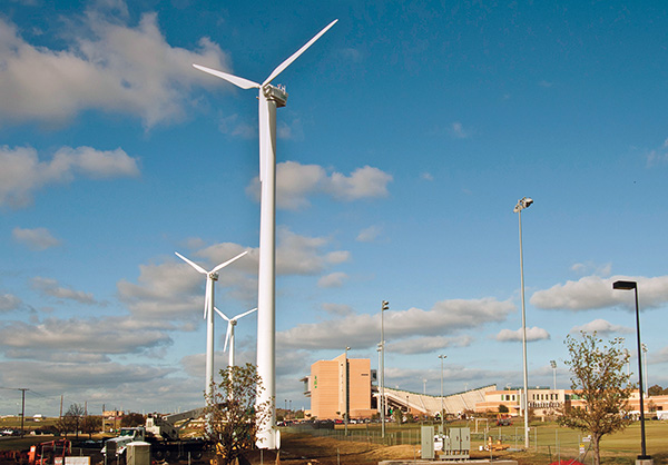 UNT's three wind turbines located at Mean Green Village. (Photo by Jonathan Reynolds)