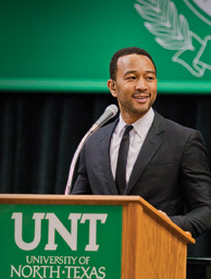John Legend discussed social activism and performed at the UNT Coliseum in February. (Photo by Jonathan Reynolds)