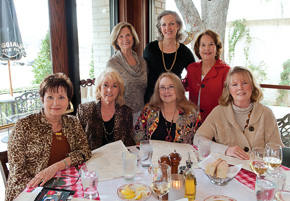 From left, front, Ann Hodges Chilton ('69), Diane Moore Grandey ('68),  Nina Boothe ('69) and Julie Skrodzki Skinner ('69); back, Karla Kautsch Hutcherson ('68), Patty Johnson Sayers ('68) and Gay Foster Ingram ('68).
