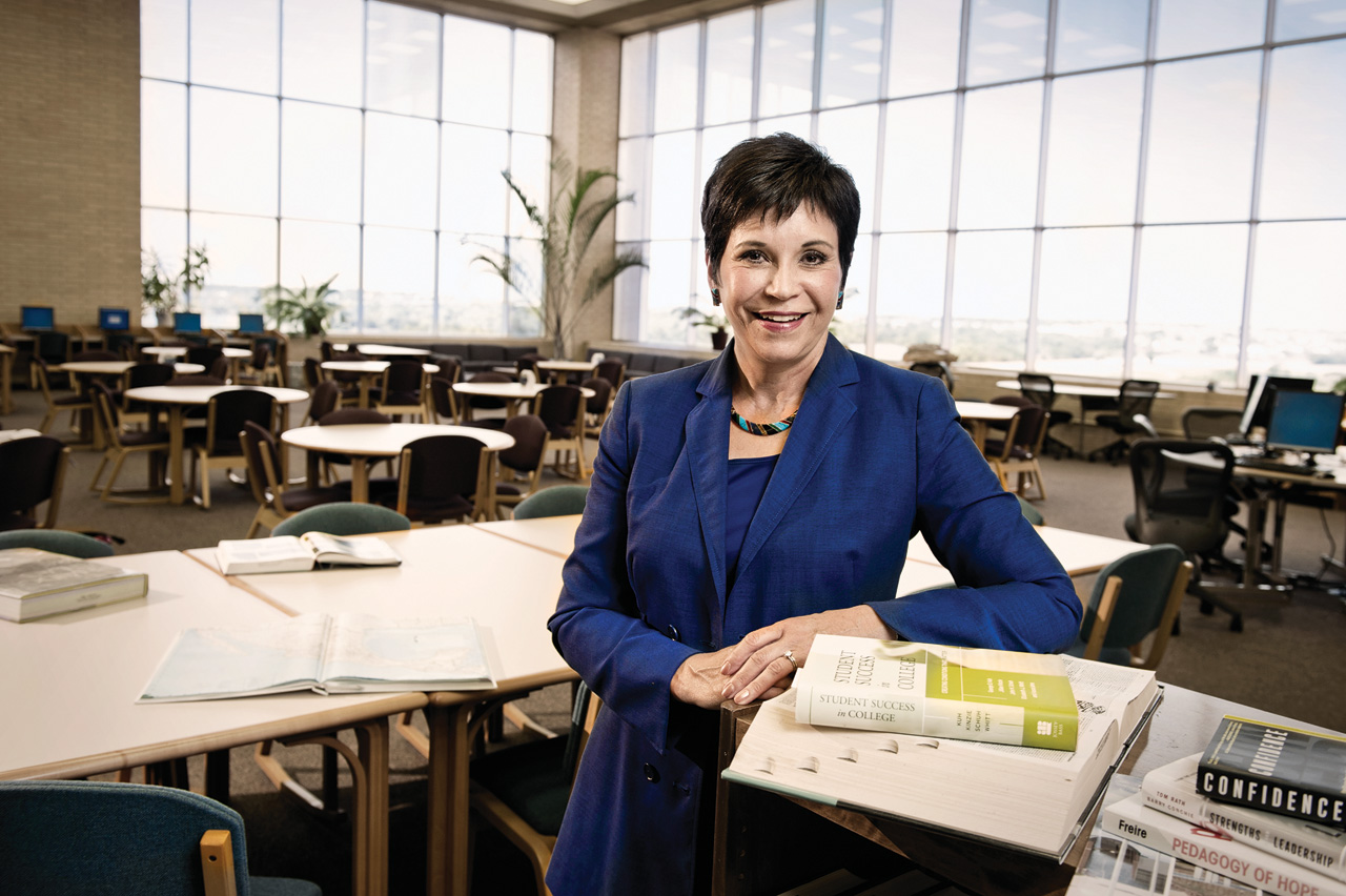 Elva Concha  LeBlanc ('75, '78 M.Ed., '86 Ph.D.) is president of Tarrant County College's Northwest Campus in Fort Worth. (Photo by Jonathan Reynolds)