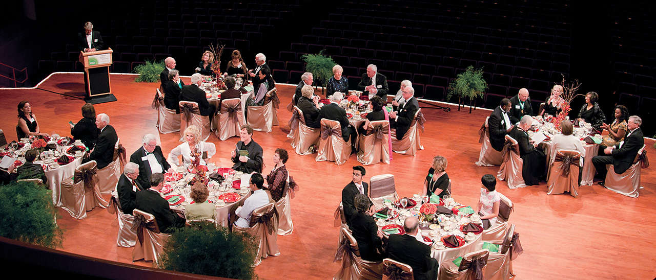 Michael Monticino, vice president for advancement and director of development for the UNT Foundation, speaks with members of UNT's Founder's Circle, a group of donors whose lifetime giving contributions to the university range from $250,000 to beyond $1 million. (Photo by Jonathan Reynolds)