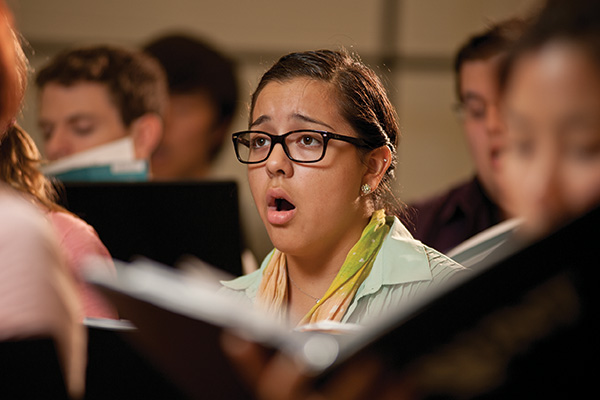 Sophia Ramirez, a freshman music education major, lives in Bruce Hall with other music majors in one of UNT's 15 REAL communities, which combine students of the same major on the same floor or residence hall. (Photo by Jonathan Reynolds)