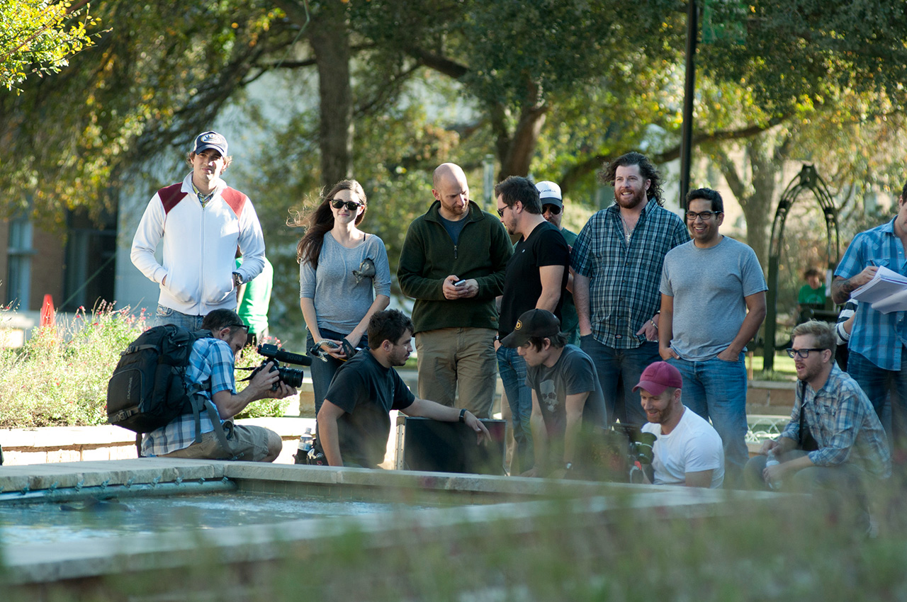 The Eli Young Band and video crew at UNT. (Photo by Jonathan Reynolds)