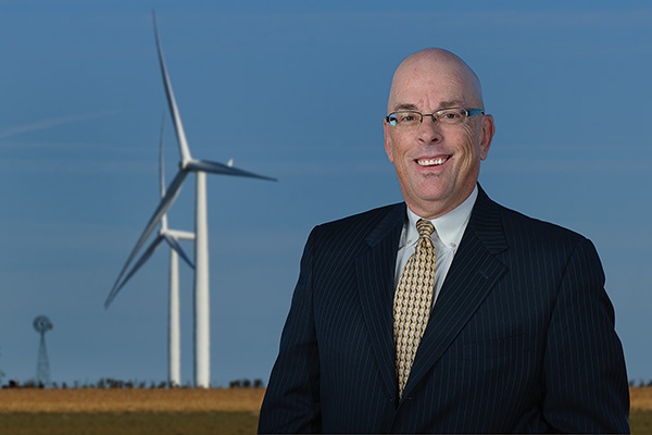 Ross McCausland ('84 M.B.A.), founder and CEO of Protos Energy Advisory in Amarillo, works as a power development and energy consultant helping developers start up energy plants, from wind, solar, geothermal and biomass to natural gas plants, throughout the nation. (Photo by Michael Clements)