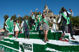 UNT's Homecoming Court at the parade in downtown Denton. (Photo by Ahna Hubnik)