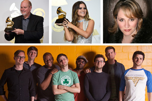 2017 UNT alumni Grammy Award winners from top left: Michael Daugherty ('76), Maren Morris, Patricia Racette ('88) and members of Snarky Puppy. (Photo credits: Associated Press -- Michael Daugherty, Maren Morris; Devon Cass -- Patricia Racette)
