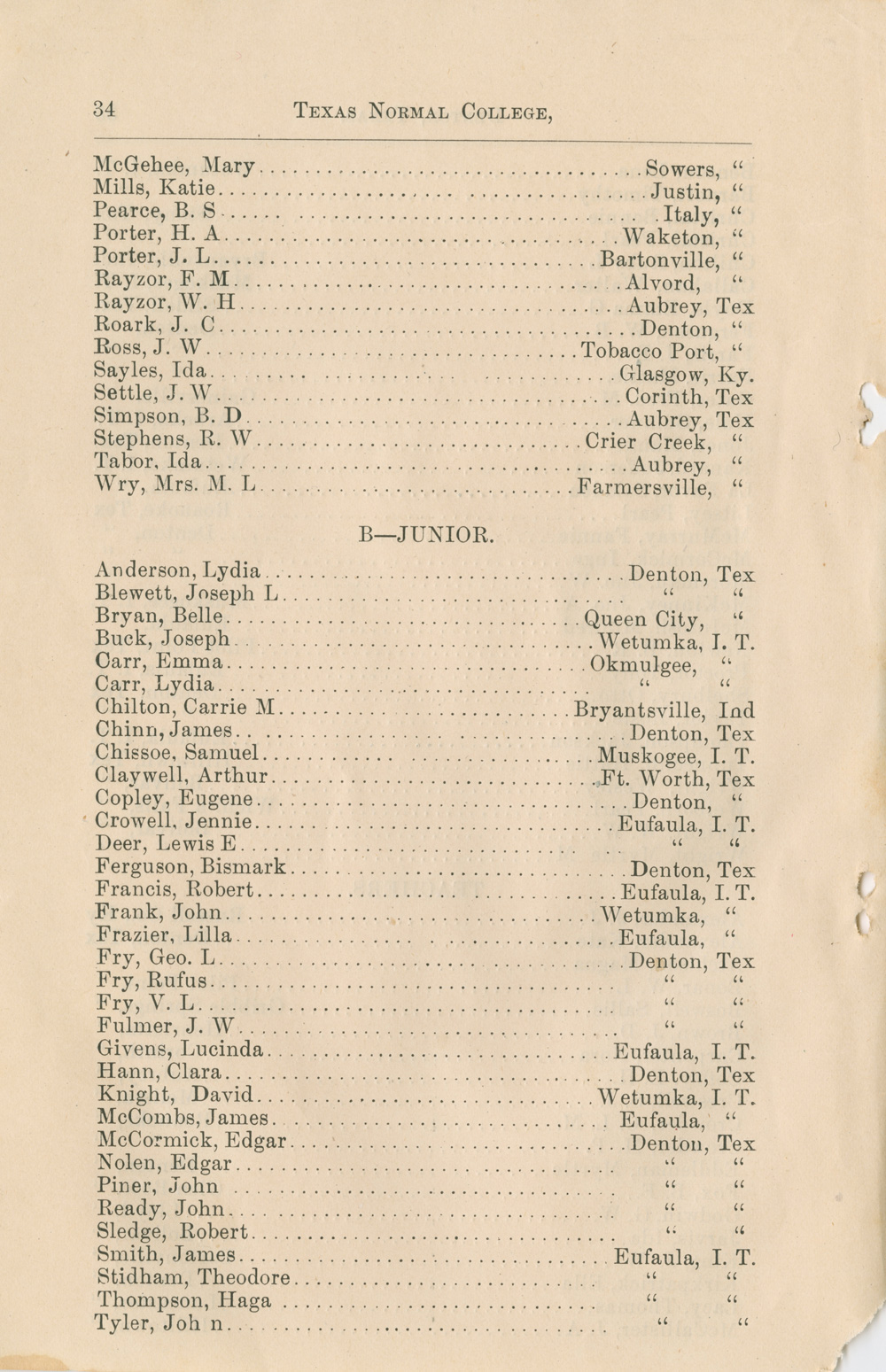 Student list page from 1890-91 Texas Normal College catalog