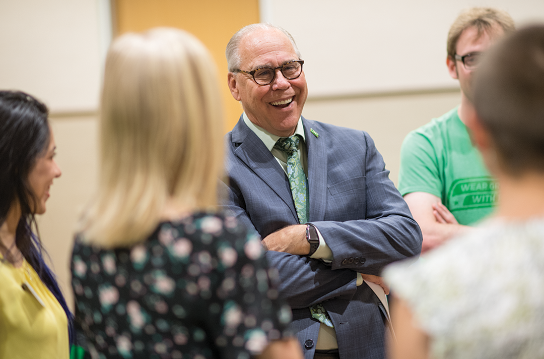 In addition to meeting students during personalized campus tours, UNT President Neal Smatresk regularly hosts events that will allow UNT's 76 National Merit Finalists to spend time together and meet the donors who fund their scholarships.