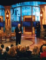 "Dr. Phil welcomes the audience to one of the shows being taped the day ""The North Texan"" visited his Paramount Studios set in Los Angeles."