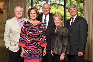 From left, Frank Bracken ('63), Janet Bracken, President V. Lane Rawlins, Gayle Strange ('67) and Michael Monticino, UNT vice president for advancement. (Photo by Michael Clements)