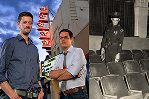 Left, from left: Barak Epstein ('01) and Adam Donaghey ('02) operate the Texas Theatre where Lee Harvey Oswald was arrested. (Photo by Gary Payne) Right: A Dallas police officer in the Texas Theatre interior. (Courtesy of The Sixth Floor Museum)