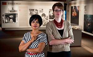 Graduate student Krishna Shenoy  and Katie Womack ('00), employees of The Sixth Floor Museum. (Photo by Gary Payne)