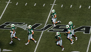 The Mean Green's throw-back uniforms this season commemorate 100 years of football at UNT.