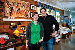 Erin ('06) and Paul 'JP' Hossley ('03) owners of Neighborhood Design Studio. (Photo by Gary Payne)