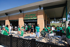 UNT Alumni Association pavilion. (Photo by Jonathan Reynolds)