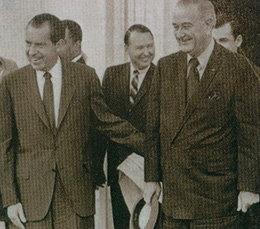 From left, President Nixon, Mike Howard and President Johnson.