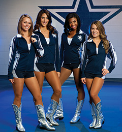 Dallas Cowboys Rhythm and Blue Dancers' uniforms designed by Kristen Ashwort