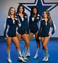 Dallas Cowboys Rhythm and Blue Dancers' uniforms designed by Kristen Ashwort