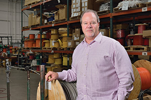 Jay Chenault ('84) is CEO of Custom Computer Cables of America, a leading manufacturer of custom copper and fiber optic assemblies. (Photo by Michael Clements)