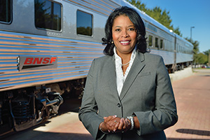 Lettie Haynes ('82), assistant vice president of technology services at BNSF, oversees payment processing software and cloud computing applications. (Photo by Michael Clements)