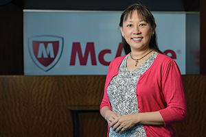 Angie Rackler ('11 Ph.D.), global learning consultant for McAfee Inc., designs and analyzes consumer product training programs for the company, the world's largest security technology company. (Photo by Michael Clements)