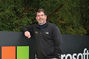 Larry Sullivan ('92), director of engineering at Microsoft's headquarters in Redmond, Wash., leads the team of engineers and developers who have built and run Microsoft Azure, the next-generation cloud computing platform. (Photo by Michael Clements)