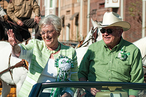 President V. Lane Rawlins and his wife, Mary Jo. ride in the 2012 Homecoming Parade. (Photo by Michael Clements)