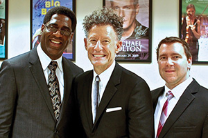From left to right Brad Leali, Lyle Lovett and Chad Willis (Photo by James Gilmer)