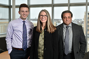 From left to right, Justin Dmytriw, a student in the Professional Selling Program, Dr. Jeffrey Lewin and Joy Houser. (Photo by Michael Clements)