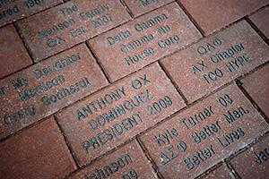 Greek Life Center brick pavers (Photo by Ahna Hubnik)
