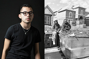 Jonathan A. Molina-Garcia ('14) captured a photograph, right, of his brother Elmer, a roofer, pictured right, with his co-worker as part of a documentary photography project that began at UNT.