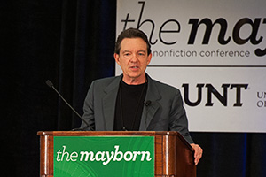 Pulitzer Prize-winning author, screenwriter and playwright Lawrence Wright captured conference-goers with wit and writing tips at the 10th annual Mayborn Literary Nonfiction Conference in July. (Photo by Ahna Hubnik)