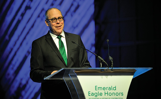 UNT President Neal Smatresk welcomes the audience. (Photo by Michael Clements)