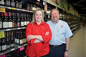 Spec's Wines, Spirits and Finer Foods - Husband and wife team John ('72) and Lindy Rydman ('72) have grown the family's original  one store in Houston to 158 stores across Texas. (Photo by Michael Clements)