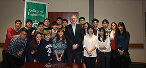 College of Engineering Dean Costas Tsatsoulis with students from Chulalongkorn University and Mahidol University in Thailand who spent eight weeks conducting research at UNT's Discovery Park this spring.