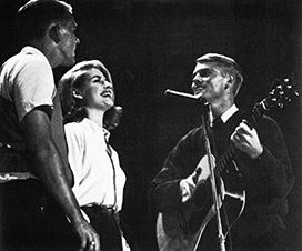 Steve Fromholz, Patti Lohman Brooks and Michael Martin Murphey, the Mike Murphey Trio, perform at a Homecoming 1963 talent show.