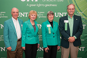 From left, Jack Wall ('64), Susan Kennedy Stinson ('64), Marsha Keffer ('64, '67 M.Ed.) and Mike McNutt ('64) celebrate at the Golden Eagles luncheon. (Photo by Gary Payne)