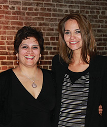 From left, Anila Quayyum Agha ('04) with Shannon M. Linker ('94). (Photo courtesy of the Arts Council of Indianapolis)
