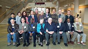 Attending the reunion were, from left, standing, Patamaporn Sukplang ('00 Ph.D.), Acharawan Thongmee ('99 Ph.D.), Guadalupe Virginia Nevárez-Moorillón ('95 Ph.D.), Jung Fu Wu ('77, '78 Ph.D.), Wayne Barnes ('72 M.S., '79 Ph.D.), Joe LaBay ('71, '74 M.S.), Massoud Mahmoudi ('86 Ph.D.), Luis A. Rodriguez ('86, '88 M.S.), Juan Sanchez Yañez (whom Vela directed for his 1992 Ph.D. from the Universidad Autónoma de Nuevo León), Miguel Castro ('96 Ph.D.); seated, Anthony Gonzalez ('82 Ph.D.), John Rainey ('71 M.S.), James Gray ('66, '67 M.A.), Emma Lamar Codina-Vela, G. Roland Vela, Joel Escamilla ('80 Ph.D.), Solomon Alade ('80 Ph.D.) and Charles Chang ('80 Ph.D.). Not pictured: Roxana Bejarano Hughes ('97 M.S.), Gerald Cagle ('69 M.S., '72 Ph.D.) and Lichu Yao Hsu ('75 M.A.).