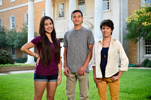 National Merit Finalists Sharilyn Amaya, Spencer Taylor and Tara Gardner. (Photo by Michael Clements)